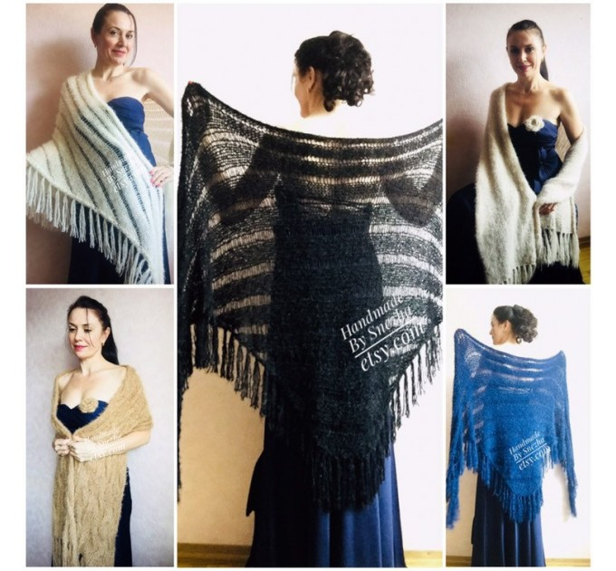 Black Knit Bridesmaid shawl Beige Wedding wrap Bridal Bolero gift for her Ivory Winter Shrug White cover up Gray Fuzzy Capelet Royal Blue