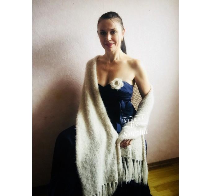 Wedding Shawl, Winter wedding, Bridal shawl, Bridesmaid Wrap, Cover up Ivory Wedding Shawl Fuzzy triangle shawl fringe knitted Scarf women  Wedding  1