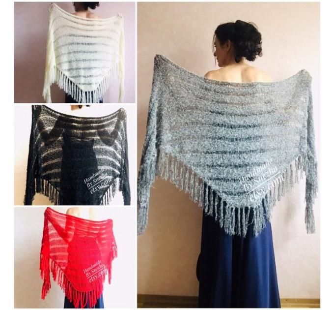 Wedding Shawl, Winter wedding, Bridal shawl, Bridesmaid Wrap, Cover up Ivory Wedding Shawl Fuzzy triangle shawl fringe knitted Scarf women  Wedding  2