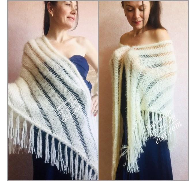 Wedding Shawl, Winter wedding, Bridal shawl, Bridesmaid Wrap, Cover up Ivory Wedding Shawl Fuzzy triangle shawl fringe knitted Scarf women  Wedding  3