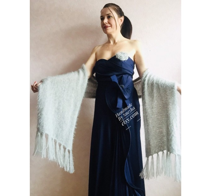 Wedding Shawl, Winter wedding, Bridal shawl, Bridesmaid Wrap, Cover up Ivory Wedding Shawl Fuzzy triangle shawl fringe knitted Scarf women  Wedding  8