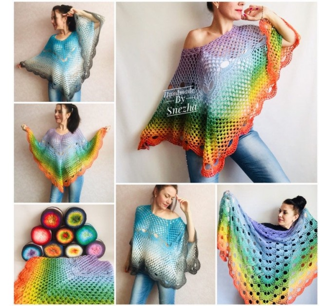 Crochet Poncho Women Big Size Vintage Shawl Plus Size White beach swimsuit cover up Cotton Knit Boho Hippie Gift-for-Her Bohemian Rainbow  Poncho  6