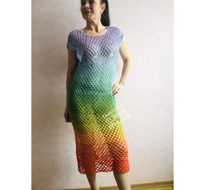 Crochet Poncho Women Big Size Vintage Shawl Plus Size White beach swimsuit cover up Cotton Knit Boho Hippie Gift-for-Her Bohemian Rainbow  Poncho  8