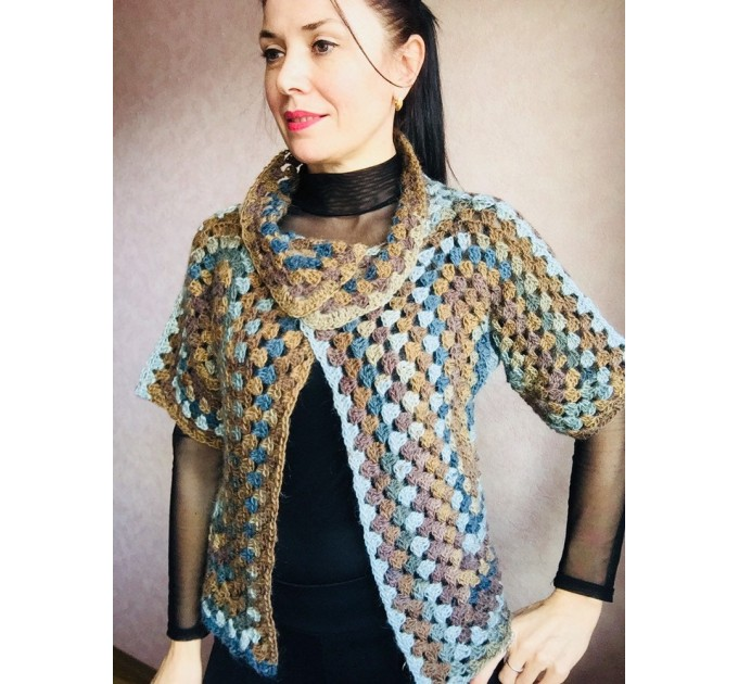Crochet jacket Alpaca Granny square Wool knit sweater mohair Plus size spring festival Rainbow wrap gift-for-women oversized chunky sweater  Jacket  1