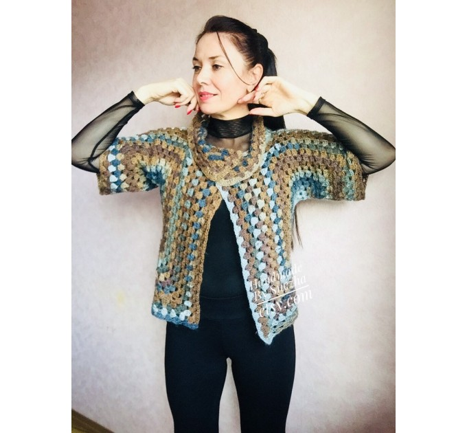 Crochet jacket Alpaca Granny square Wool knit sweater mohair Plus size spring festival Rainbow wrap gift-for-women oversized chunky sweater  Jacket  2
