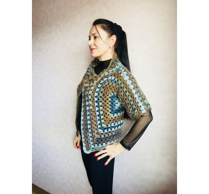 Crochet jacket Alpaca Granny square Wool knit sweater mohair Plus size spring festival Rainbow wrap gift-for-women oversized chunky sweater  Jacket  3