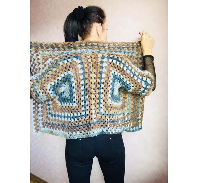 Crochet jacket Alpaca Granny square Wool knit sweater mohair Plus size spring festival Rainbow wrap gift-for-women oversized chunky sweater  Jacket  4