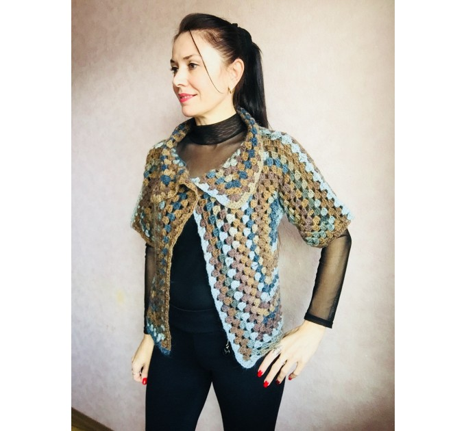 Crochet jacket Alpaca Granny square Wool knit sweater mohair Plus size spring festival Rainbow wrap gift-for-women oversized chunky sweater  Jacket  5