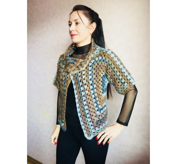 Crochet jacket Alpaca Granny square Wool knit sweater mohair Plus size spring festival Rainbow wrap gift-for-women oversized chunky sweater  Jacket  7