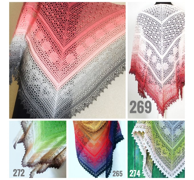 Crochet Lace Shawl Wraps Pink Shawl Boho Triangle Scarf for Women Rainbow Floral Hand Knit Shawl Large  Shawl / Wraps  1