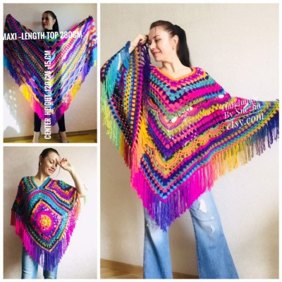 Rainbow Poncho Fringe, Crochet Triangle Shawl Wraps, Poncho Women Plus size Festival poncho Pride, Mom-Birthday-Gift-from-Daughter-For-Her