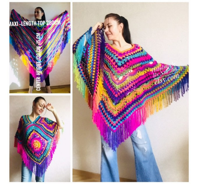 Rainbow Poncho Fringe, Crochet Triangle Shawl Wraps, Poncho Women Plus size Festival poncho Pride, Mom-Birthday-Gift-from-Daughter-For-Her  Poncho  1
