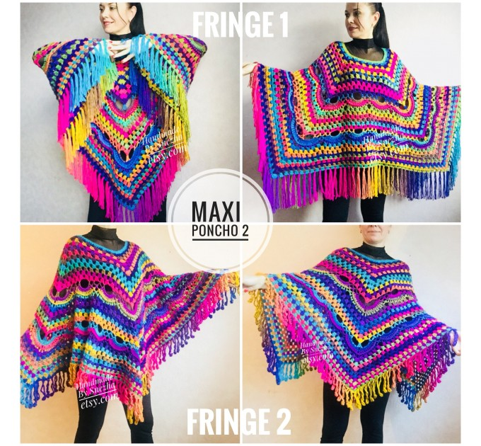 Rainbow Poncho Fringe, Crochet Triangle Shawl Wraps, Poncho Women Plus size Festival poncho Pride, Mom-Birthday-Gift-from-Daughter-For-Her  Poncho  2