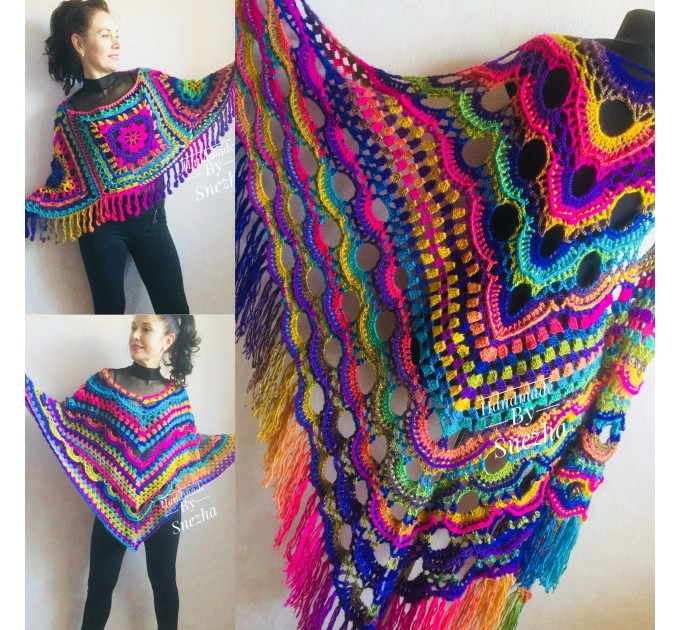 Rainbow Poncho Fringe, Crochet Triangle Shawl Wraps, Poncho Women Plus size Festival poncho Pride, Mom-Birthday-Gift-from-Daughter-For-Her  Poncho  7