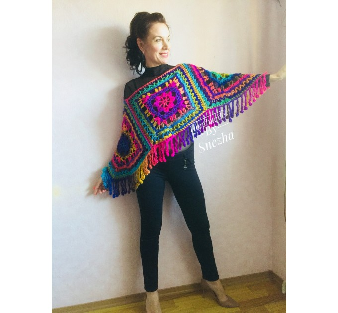 Rainbow Crochet Poncho Fringe, Plus size Festival poncho Pride, Triangle Shawl Wraps, Poncho Women Mom-Birthday-Gift-from-Daughter-For-Her  Poncho  8