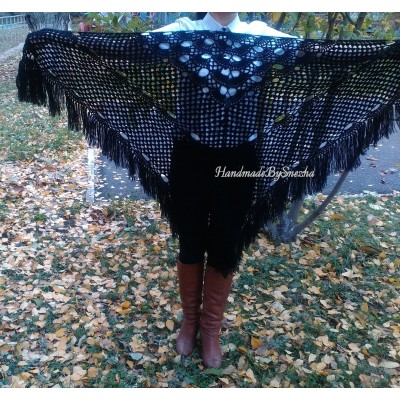 Black Shawl Crochet Mohair Wraps Triangle Fringe Big Size Shawl Hand knit Lace Mohair shawl Gifts for wife Bridal Triangle Bohemian shawl