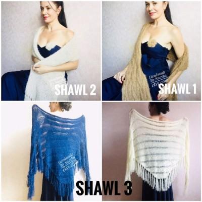 Bridesmaid shawl Winter Wedding Beige crochet wrap Bridal Bolero gift for her Ivory knit Shrug Cape White cover up Gray Fuzzy Capelet Blue