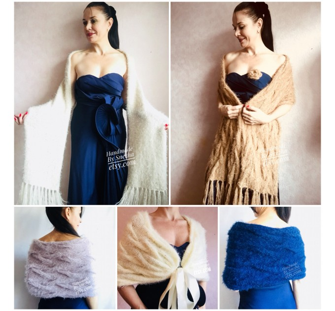 Bridesmaid shawl Winter Wedding Beige crochet wrap Bridal Bolero gift for her Ivory knit Shrug Cape White cover up Gray Fuzzy Capelet Blue  Wedding  6