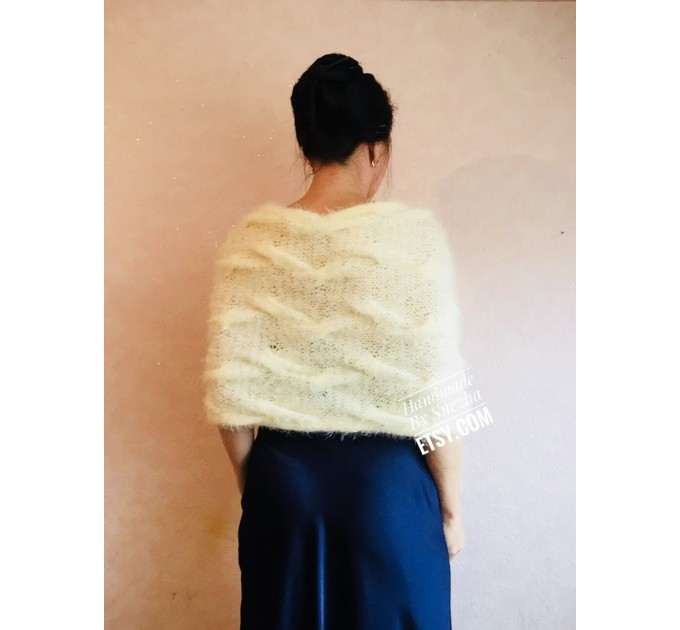Bridesmaid shawl Winter Wedding Beige crochet wrap Bridal Bolero gift for her Ivory knit Shrug Cape White cover up Gray Fuzzy Capelet Blue  Wedding  8