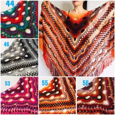 Crochet Shawl Wrap Burnt Orange Triangle Boho Shawl Colorful Rainbow Shawl Fringe Big Multicolor Lace Shawl Hand Knitted Shawl Evening Shawl