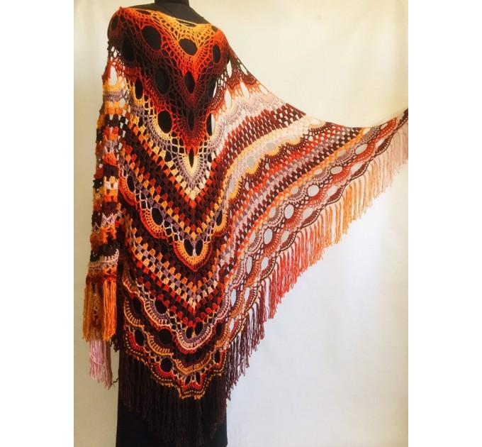 Crochet Shawl Wrap Burnt Orange Triangle Boho Shawl Colorful Rainbow Shawl Fringe Big Multicolor Lace Shawl Hand Knitted Shawl Evening Shawl  Shawl / Wraps  6