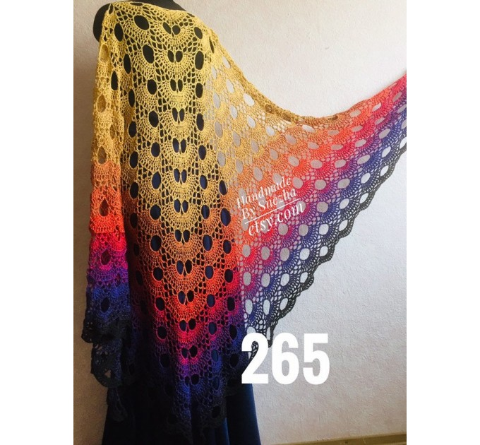 Rainbow Crochet Shawl Wraps Cotton PONCHO Granny Square Summer Gay Pride Wedding Gift Lace Fringe Shawl Triangle Bohemian Flower Bridesmaid  Shawl / Wraps  7
