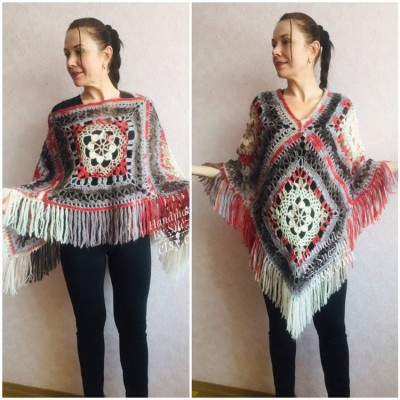 Poncho Women Wool Cape Crochet Boho Fringe 20-colors Hippie Gift for Her Bohemian Gray Boat Neck Boho Rainbow Cape Wool Black Poncho Rainbow