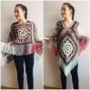 Poncho Women Wool Cape Crochet Boho Fringe 20-colors Hippie Gift for Her Bohemian Gray Boat Neck Boho Rainbow Cape Wool Black Poncho Rainbow