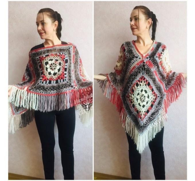 Poncho Women Wool Cape Crochet Boho Fringe 20-colors Hippie Gift for Her Bohemian Gray Boat Neck Boho Rainbow Cape Wool Black Poncho Rainbow  Poncho  1