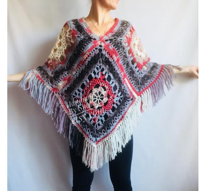 Poncho Women Wool Cape Crochet Boho Fringe 20-colors Hippie Gift for Her Bohemian Gray Boat Neck Boho Rainbow Cape Wool Black Poncho Rainbow  Poncho  2