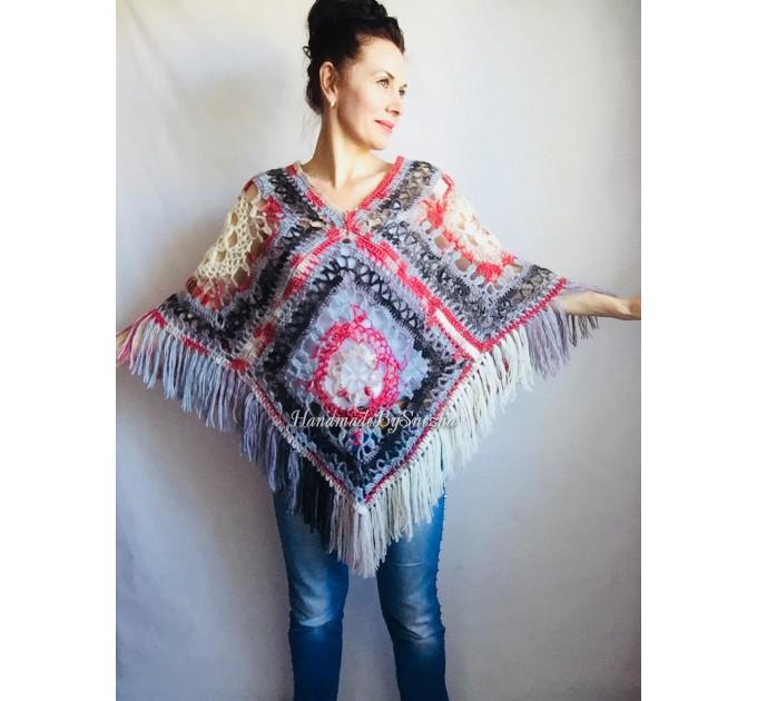 Poncho Women Wool Cape Crochet Boho Fringe 20-colors Hippie Gift for Her Bohemian Gray Boat Neck Boho Rainbow Cape Wool Black Poncho Rainbow  Poncho  3