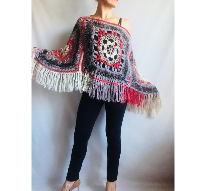 Poncho Women Wool Cape Crochet Boho Fringe 20-colors Hippie Gift for Her Bohemian Gray Boat Neck Boho Rainbow Cape Wool Black Poncho Rainbow  Poncho  4
