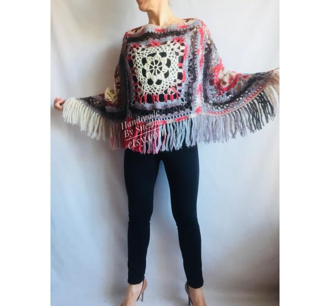 Poncho Women Wool Cape Crochet Boho Fringe 20-colors Hippie Gift for Her Bohemian Gray Boat Neck Boho Rainbow Cape Wool Black Poncho Rainbow  Poncho  5