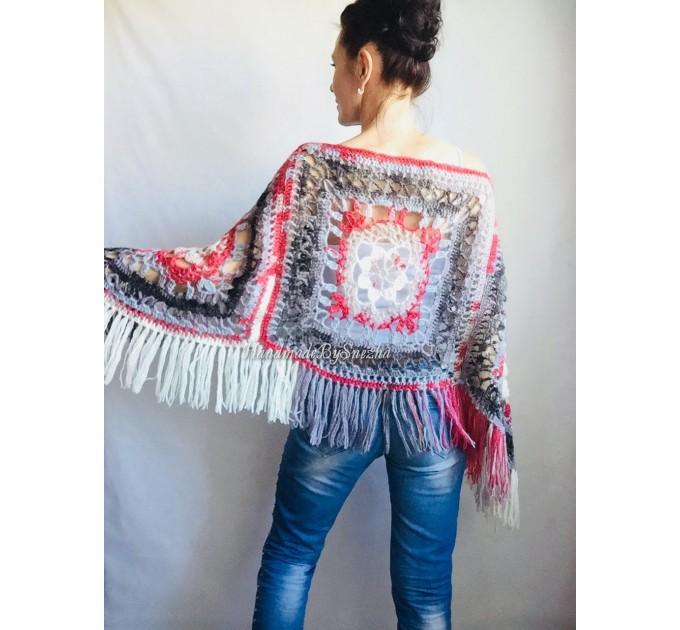 Poncho Women Wool Cape Crochet Boho Fringe 20-colors Hippie Gift for Her Bohemian Gray Boat Neck Boho Rainbow Cape Wool Black Poncho Rainbow  Poncho  7