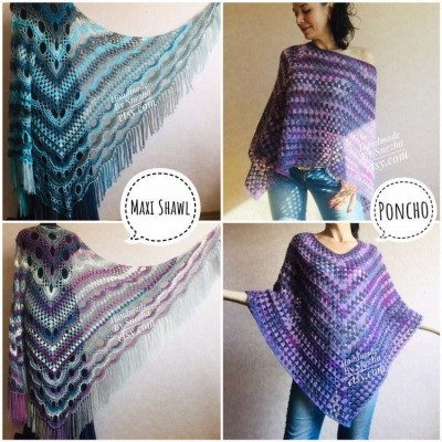 Crochet Poncho Women, Shawl Wrap Fringe Alpaca, Plus Size Festival Clothing, Mohair Big Prayer Gift for Her, Hand Knit Scarf Granny Square,