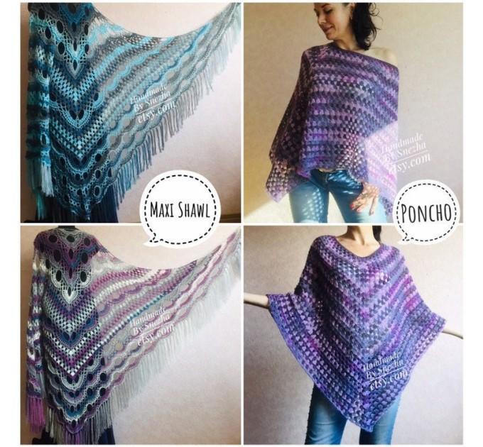 Crochet Poncho Women, Shawl Wrap Fringe Alpaca, Plus Size Festival Clothing, Mohair Big Prayer Gift for Her, Hand Knit Scarf Granny Square,  Poncho