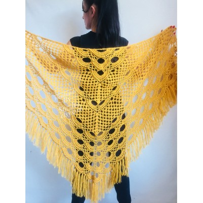 Mustard Crochet Shawl Wraps Triangle Fringe 50 COLORS Granny Shawl Long Handknit Woman Bohemian Festi Hand Knit Large Mohair Oversize Cape