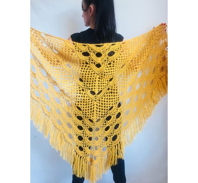 Mustard Crochet Shawl Wraps Triangle Fringe 50 COLORS Granny Shawl Long Handknit Woman Bohemian Festi Hand Knit Large Mohair Oversize Cape  Shawl / Wraps  1