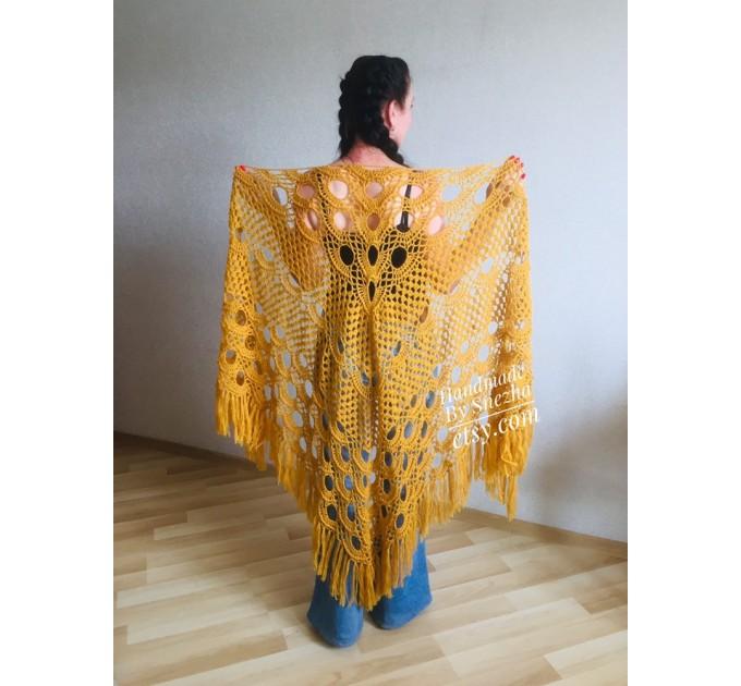 Mustard Crochet Shawl Wraps Triangle Fringe 50 COLORS Granny Shawl Long Handknit Woman Bohemian Festi Hand Knit Large Mohair Oversize Cape  Shawl / Wraps  2