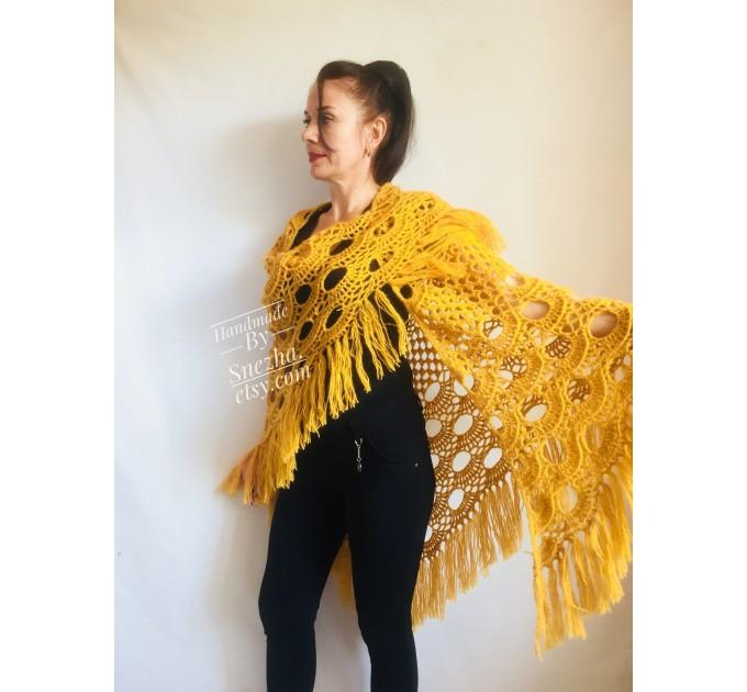 Mustard Crochet Shawl Wraps Triangle Fringe 50 COLORS Granny Shawl Long Handknit Woman Bohemian Festi Hand Knit Large Mohair Oversize Cape  Shawl / Wraps  5