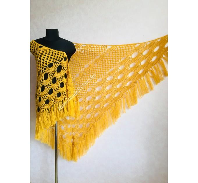 Mustard Crochet Shawl Wraps Triangle Fringe 50 COLORS Granny Shawl Long Handknit Woman Bohemian Festi Hand Knit Large Mohair Oversize Cape  Shawl / Wraps  7