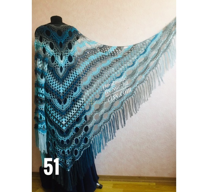 Crochet Shawl Wrap Fringe, Plus Size Festival Clothing Poncho Women, Mohair Big Prayer Gift for Her, Hand Knit Alpaca Scarf Granny Square,  Shawl / Wraps  6