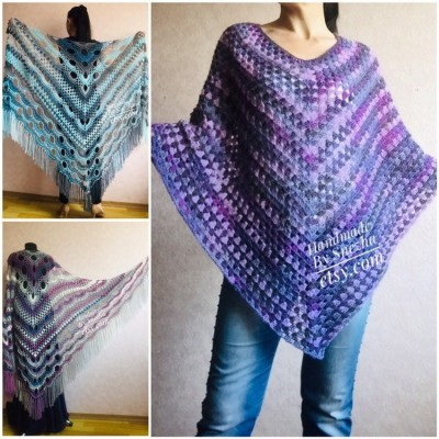 Granny Square Hand Knit Poncho Women, Boho Crochet Shawl Wrap Fringe, Plus Size Festival Clothing Alpaca , Mohair Big Prayer Gift for Her,