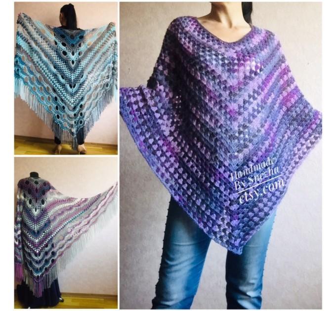 Granny Square Hand Knit Poncho Women, Boho Crochet Shawl Wrap Fringe, Plus Size Festival Clothing Alpaca , Mohair Big Prayer Gift for Her,  Poncho  9