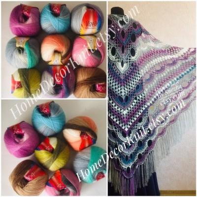 RAINBOW Angora Vizel Alpaca Wool fingering yarn Lace multicolour crochet knit art yarn shawl scarf poncho sweater cardigan wrap hat pattern