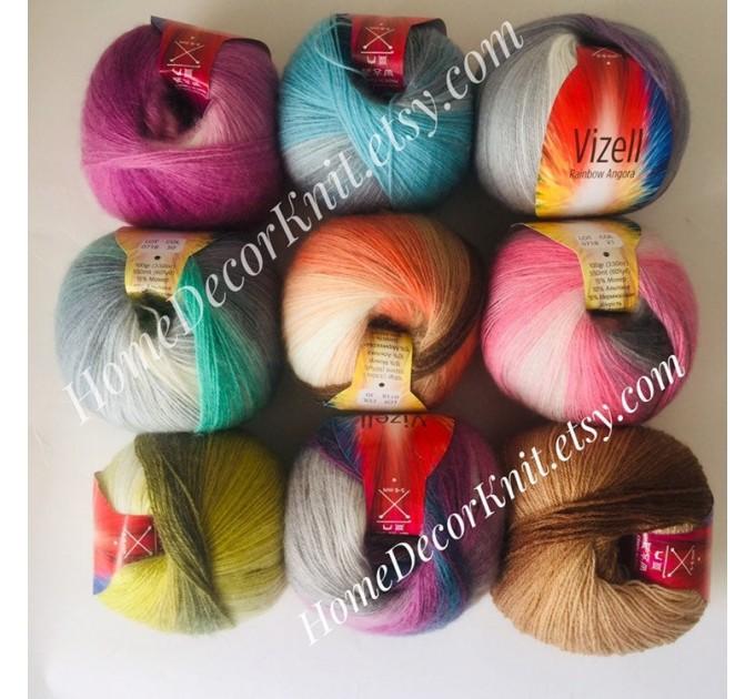 RAINBOW Angora Vizel Alpaca Wool fingering yarn Lace multicolour crochet knit art yarn shawl scarf poncho sweater cardigan wrap hat pattern  Yarn  3