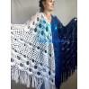 Navy Blue White COTTON Crochet SHAWL Granny Square Bridesmaid Wraps Custom Color Fringe Summer Lace Shawl Hand Knit Triangle Flower Black