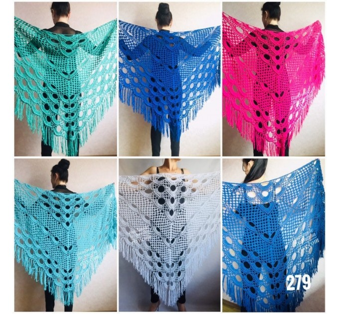 Navy Blue White COTTON Crochet SHAWL Granny Square Bridesmaid Wraps Custom Color Fringe Summer Lace Shawl Hand Knit Triangle Flower Black  Shawl / Wraps  3