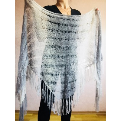 Hand Knit Shawl Triangle Wrap Fringe Alpaca White Big size Scarf Gradient Shawl Mohair Gray Handknit Woman Bohemian Shawl Black Granny