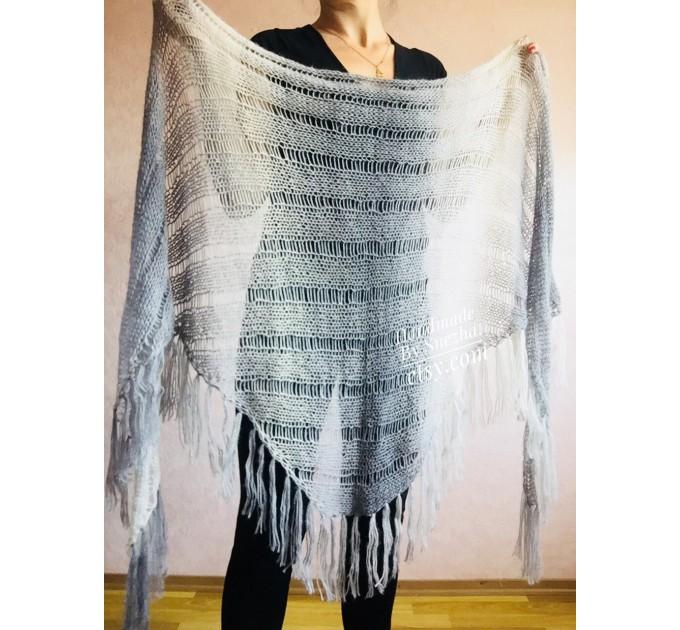 Hand Knit Shawl Triangle Wrap Fringe Alpaca White Big size Scarf Gradient Shawl Mohair Gray Handknit Woman Bohemian Shawl Black Granny  Shawl / Wraps